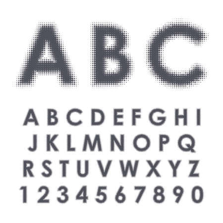 Latin alphabet. Capital letters and numbers with black halftone effect isolated on white background