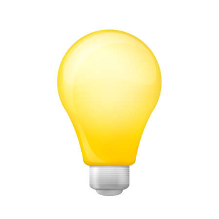 Bright yellow light bulb isolated on a white background Stok Fotoğraf - 112082061