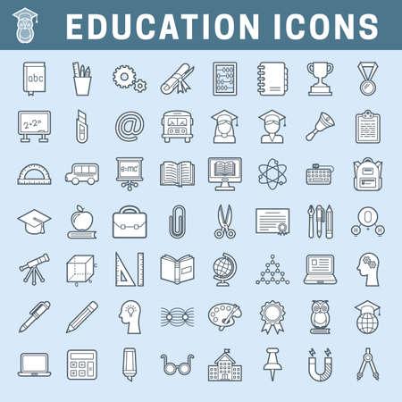 Ensemble d'icônes de contour d'école et d'éducation avec remplissage, trait modifiable