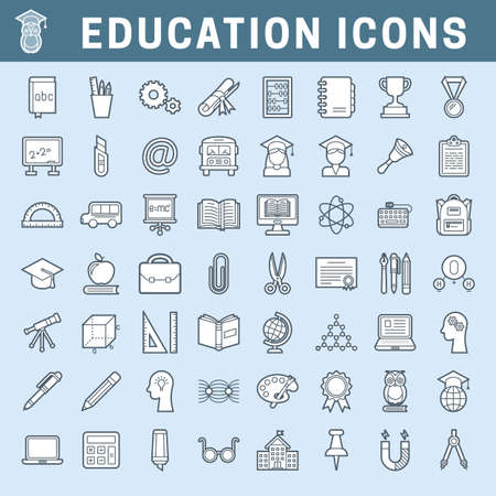 Set of school and education outline icons with fill, editable stroke Stok Fotoğraf - 112082063