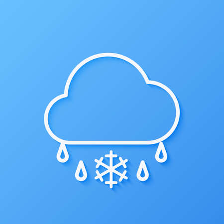 Icon weather cloud and sleet on a blue background Çizim