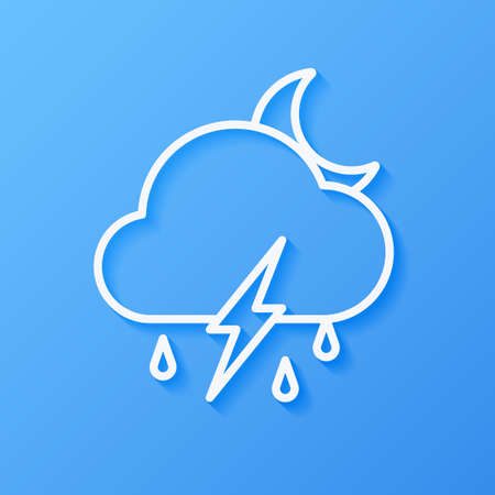 Icon weather moon, cloud, rain with lightning on a blue background