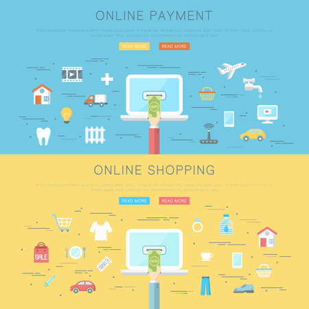 Conceptual flat web design banner, online payment and shopping concept Stok Fotoğraf - 112082071