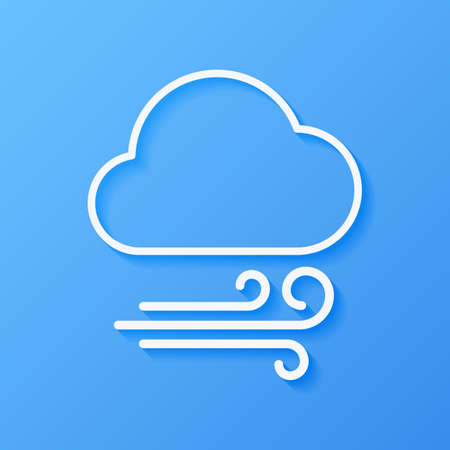 Icon weather wind and cloud on a blue background Stok Fotoğraf - 112082074