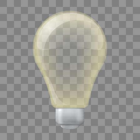 Transparent glass light bulb, realistic, yellow color Stok Fotoğraf - 112082075