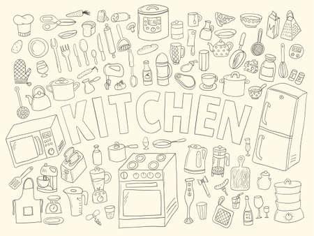 Set hand drawn icons kitchen. White with black contour