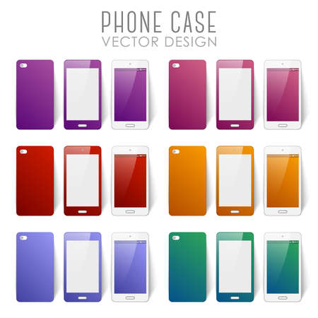 Set of covers and backgrounds for mobile phone screen Stok Fotoğraf - 112082078