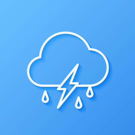 Icon weather cloud, rain with lightning on a blue background Stok Fotoğraf - 112082080