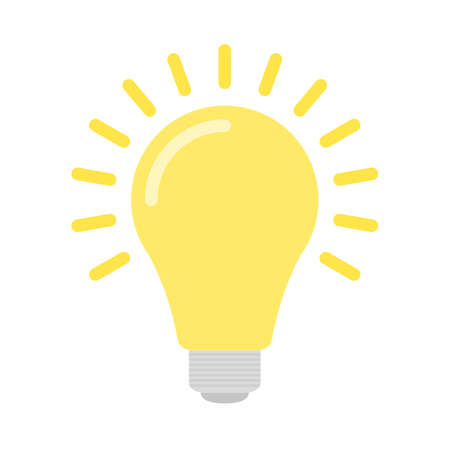 Bright yellow flat bulb with light isolated on white background