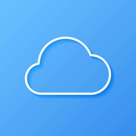 Icon weather cloud on a blue background Çizim