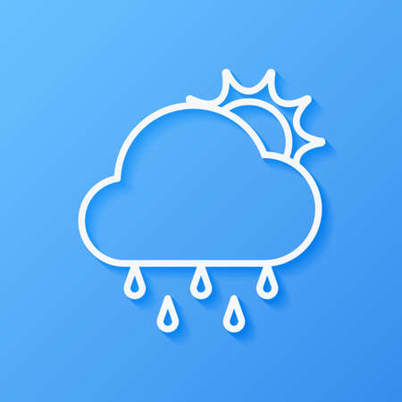 Icon weather sun, rain and cloudd on a blue background Stok Fotoğraf - 112082087