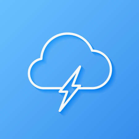 Icon weather cloud with lightning on a blue background Çizim