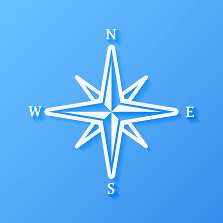 Icon weather rose of wind on a blue background