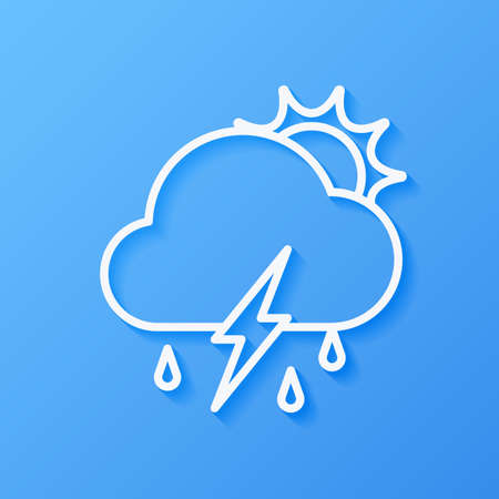 Icon weather sun, cloud, rain with lightning on a blue background Stok Fotoğraf - 112082098