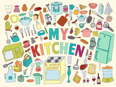Set hand drawn icons kitchen. Color with black contour on white background Stok Fotoğraf - 112082100