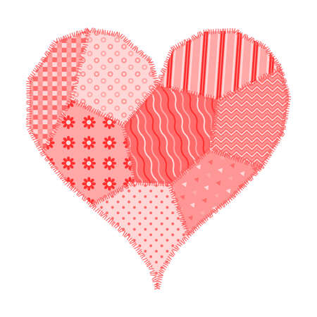Postcard on Valentines Day pink heart made of patchwork Çizim