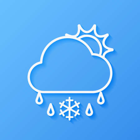 Icon weather sun, cloud, sleet on a blue background Stok Fotoğraf - 112082102