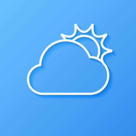 Icon weather sun and cloud on a blue background Stok Fotoğraf - 112082104