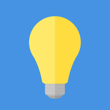 Bright yellow flat light bulb isolated on blue background Stok Fotoğraf - 112082105