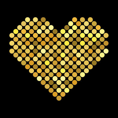 Golden hearts with halftone effect isolated on black background Çizim