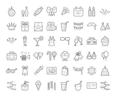 Set of simple outline party icons, expand stroke