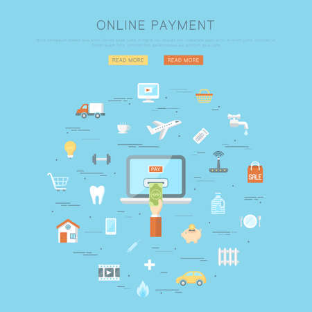 Conceptual background, flat web design banner, online payment concept