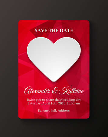 Wedding invitation cards template.White paper heart on polygonal background Stok Fotoğraf - 111920916
