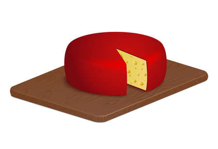 Red cheese wheel on wooden board Illustration