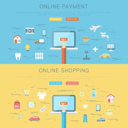 Conceptual flat web design banner, online payment and shopping concept