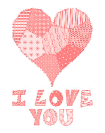 Valentines Day card with text I Love You and heart made of patchwork