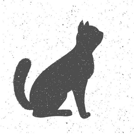 Poster outline black cat on a white textured background