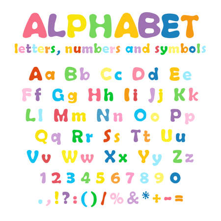 Cartoon colorful alphabet on white background, uppercase and lowercase letters, numbers and symbols