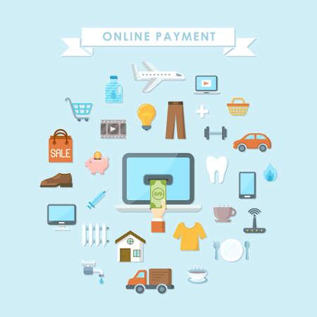 Conceptual background, flat web design banner, online payment concept 版權商用圖片 - 110061581