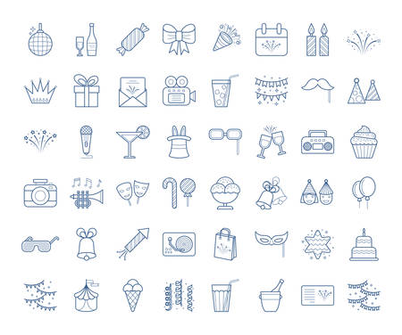 Set of simple linear party icons, editable stroke