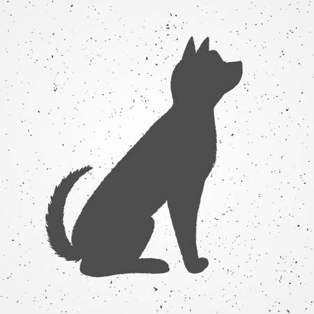 Poster outline black dog on a white textured background Çizim
