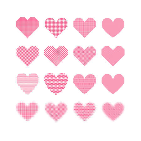 Set of pink hearts with halftone effect