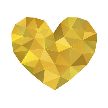 Abstract polygonal golden heart, Love symbol for Valentines day Çizim