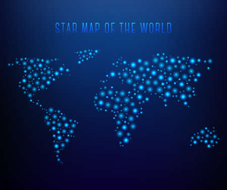 Blue dotted world map made of sparkle star Çizim