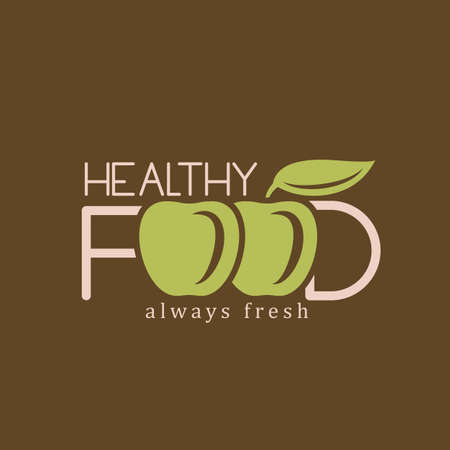 Vegan or vegetarian badge. Healthy food logo template Çizim