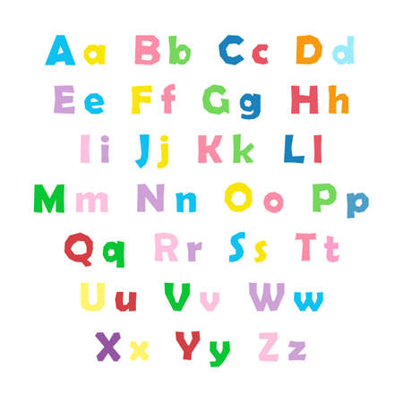 Cartoon colorful alphabet on white background, uppercase and lowercase letters  イラスト・ベクター素材