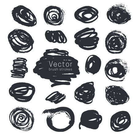 Set of black ink round brush strokes isolated on white background