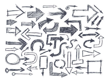 Hand drawn doodle arrows isolated on white background
