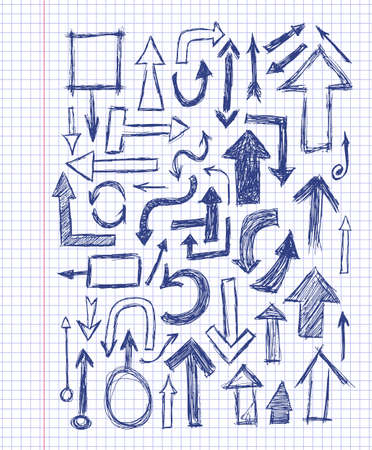 Hand drawn doodle blue arrow set on the notebook sheet  イラスト・ベクター素材