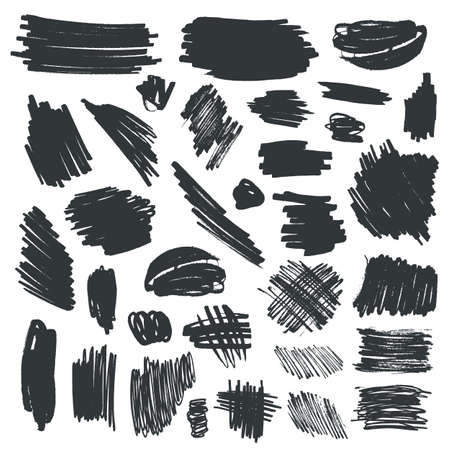 Set of black ink brush strokes and texture isolated on white background