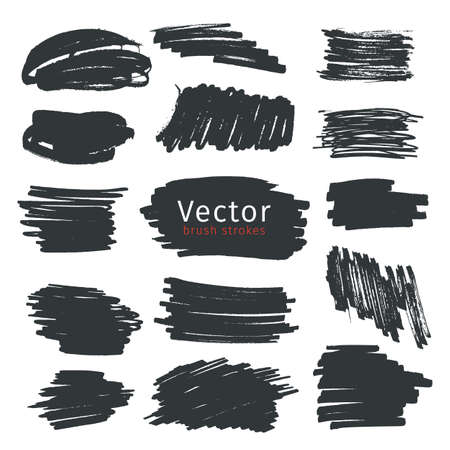 Set of black ink brush strokes isolated on white background
