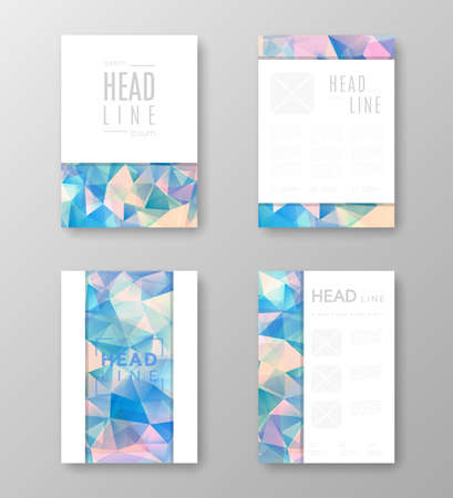 Brochure template layout with abstract polygonal background