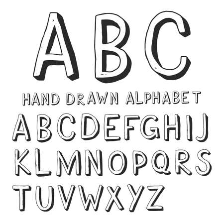Hand drawn doodles capital letters of the Latin alphabet