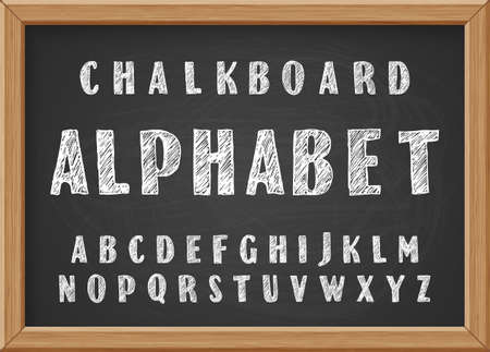 Hand drawn chalk doodles capital letters of the Latin alphabet on black realistic chalkboard