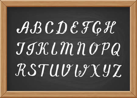 Hand drawn chalk calligraphic capital letters of the Latin alphabet on black realistic chalkboard  イラスト・ベクター素材