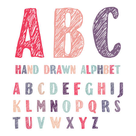 Hand drawn color doodles capital letters of the Latin alphabet